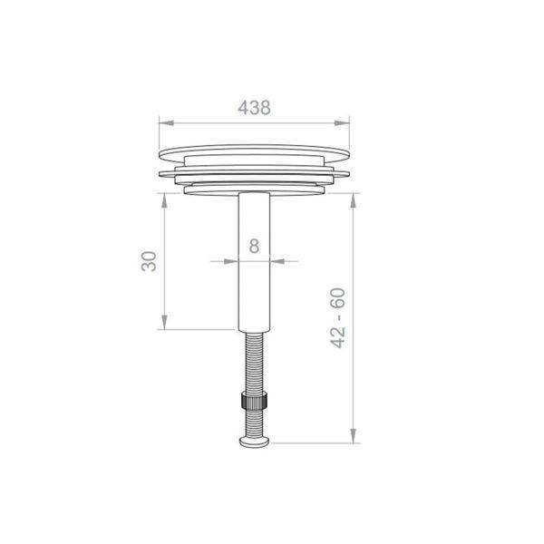 Abflussstopfen Ø 43,8 mm mit Hubstange Universal für Spüle, Waschbecken, Badewanne