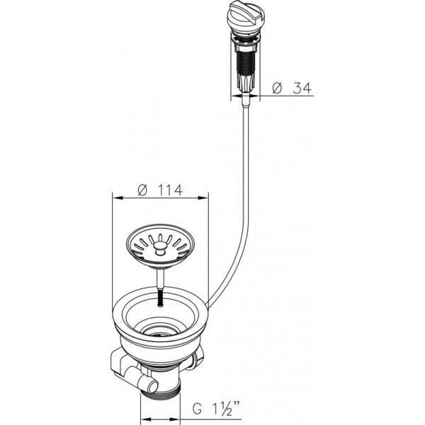 Siebkorb-Excenterventil 114 mm mit Drehbetätigung und Überlauf für Spüle