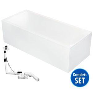 AQUADE Acryl Rechteck Badewanne 190x90 cm Komplett-Set mit Schürze, Gestell, Ablaufgarnitur