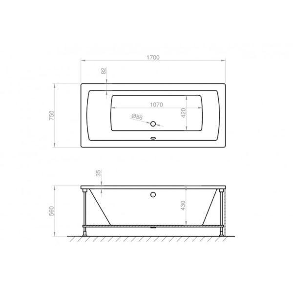 Badewanne 170 x 75 cm Körpergröße