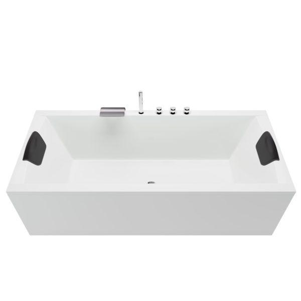 Acryl Rechteck Badewanne mit Armatur, LED Beleuchtung und Kopfstützen