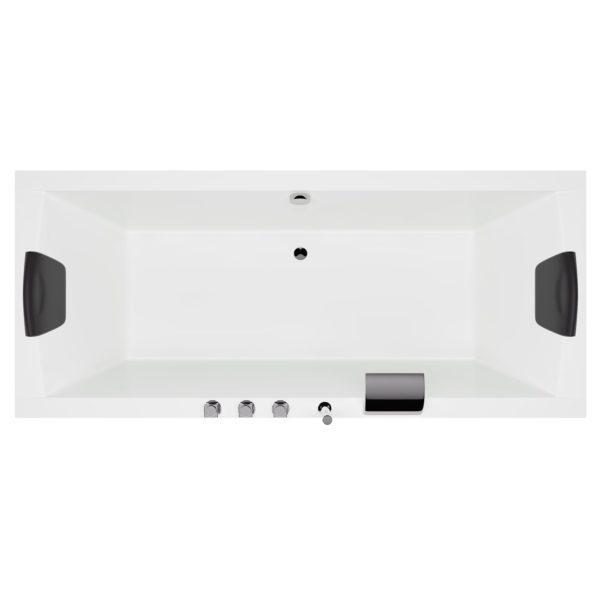 Acryl Rechteck Badewanne mit integrierter Armatur, LED Licht und Nackenkissen