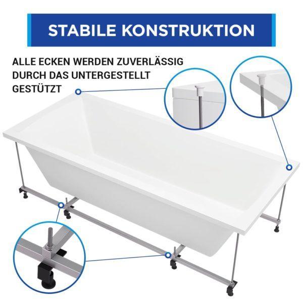 Badewanne Bremen, Komplett-Set mit Schürze, Gestell und Ab-Überlauf-Garnitur