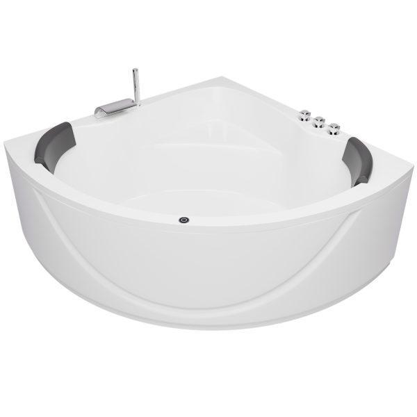 Badewanne Maße 150cm Komplett-Set mit integrierter Armatur, Nackenkissen