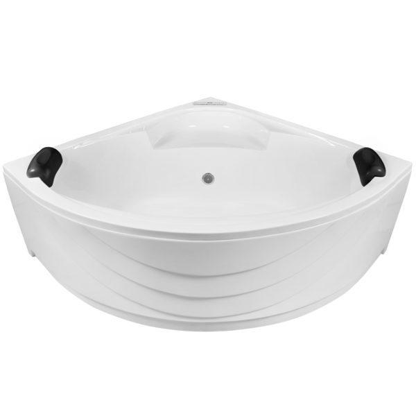 Eckbadewanne Whirlpool 150cm Komplett-Set mit LED, Bodendüsen