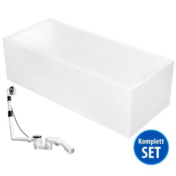 AQUADE Rechteck Badewanne 170x75 cm Komplett-Set