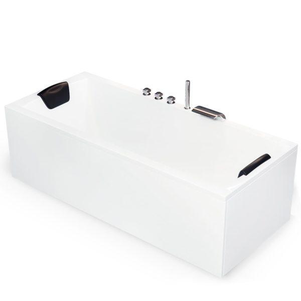 Rechteck Badewanne 170x75 cm Komplett-Set mit intergierter Armatur, Nackenkissen, LED